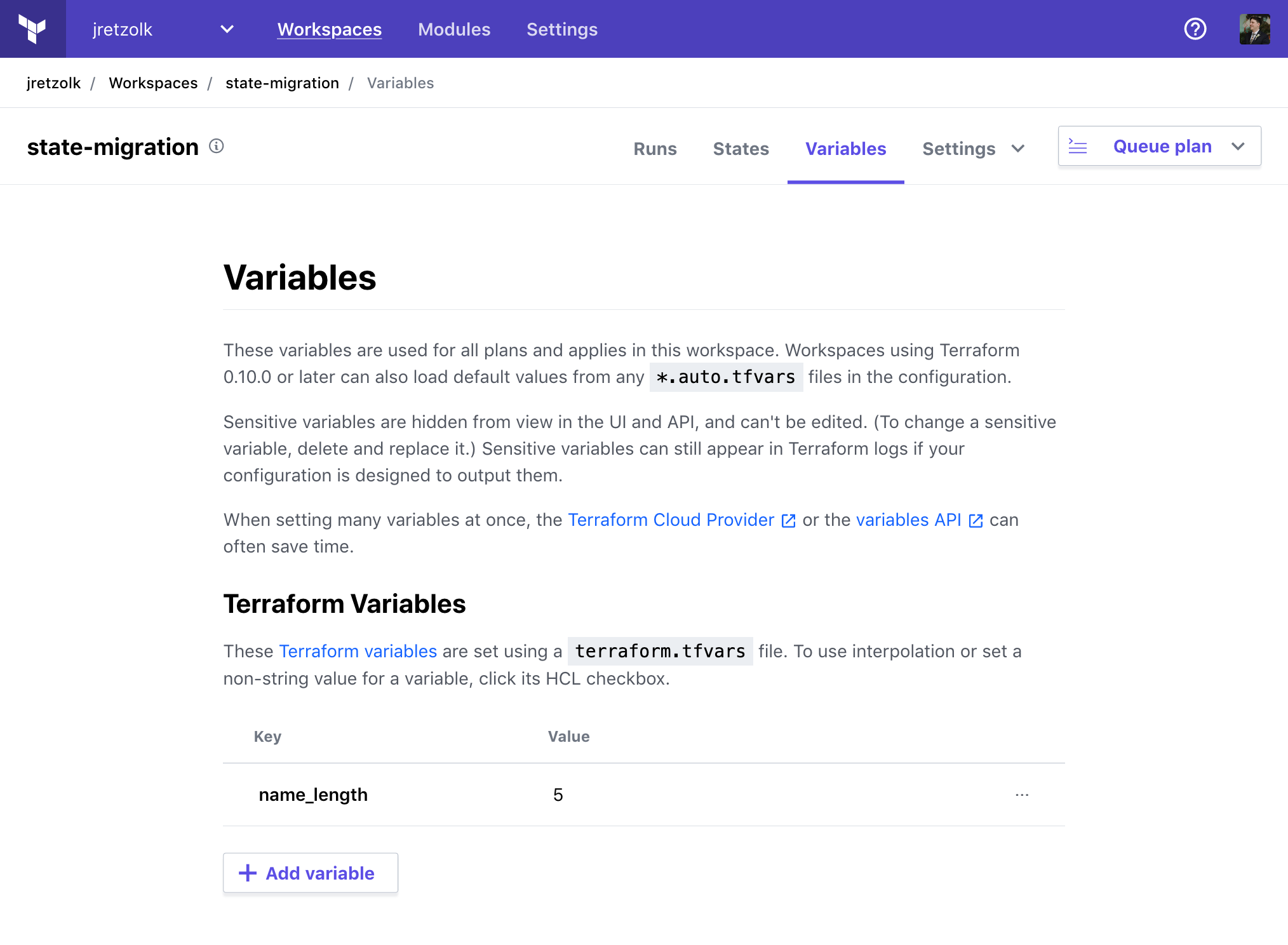 "The Terraform Cloud workspace's ""Variables"" tab with a variable added"