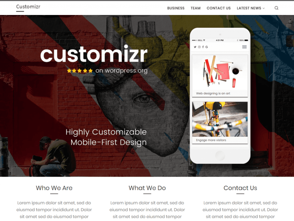 most installed free wordpress theme customizr