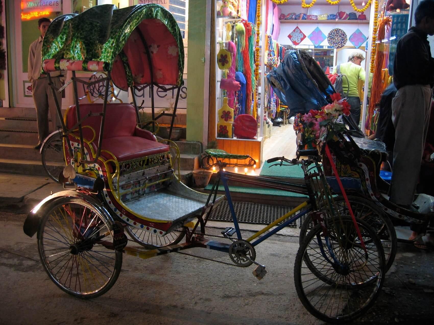 Rickshaw Parking in Thamel, Kathmandu