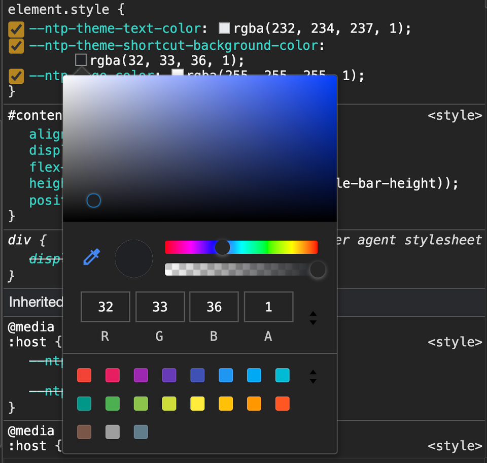 screenshot of colour picker in dev tools