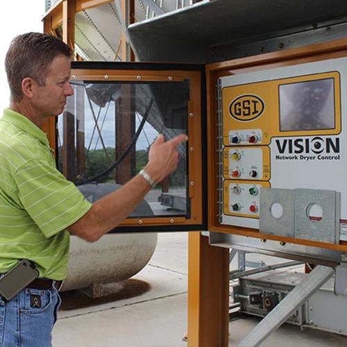 A GSI grain dryer's control panel.