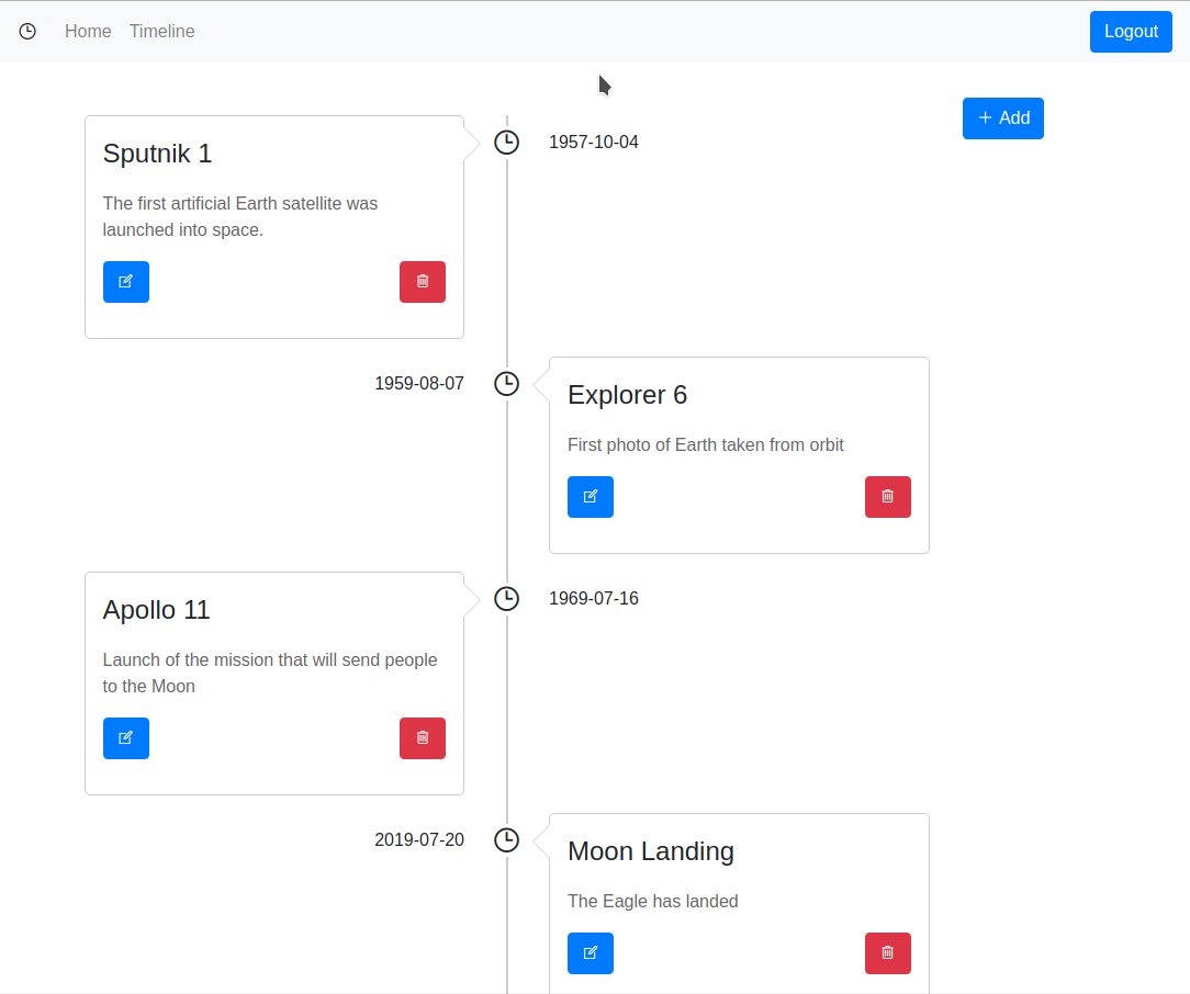 A timeline application using Angular and MySQL