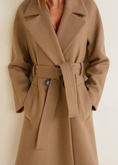 Manteau long en laine bouillie beige