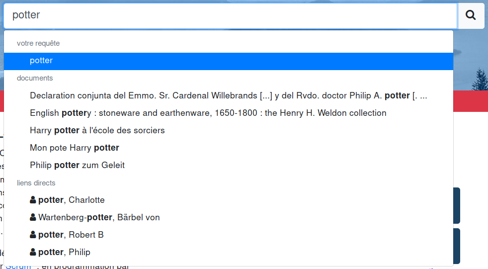 Search suggestions screenshot, as a query is being typed