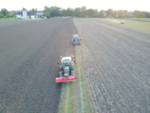 Large-scale evening in the fields at Ginthör Landtechnik, agricultural machinery manufacturer.