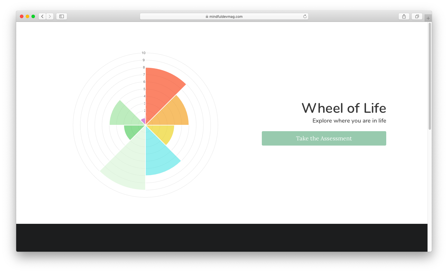 wheel of life assessment welcome page