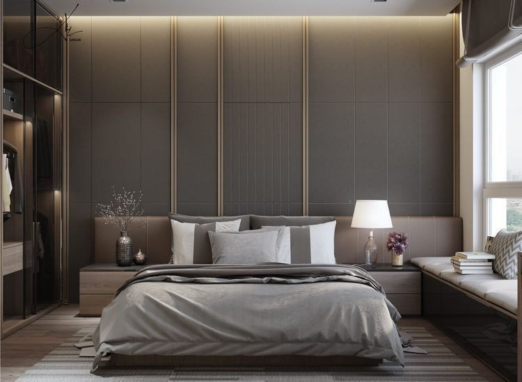 Interior Designers Bangalore - Bedroom interior designs with luxury glass sliding wooden wardrobes, sliding windows, forest themed marbonite flooring, straignt sofas with books, synthetic wall flooring, side table, bed lamps and floral show pieces