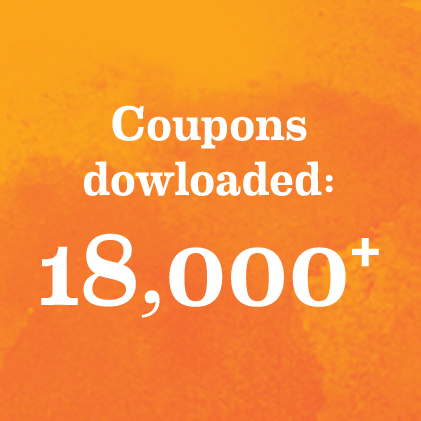 Coupons downloaded: 18,000+