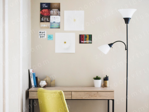 Stylish Home Study Virtual Background for Zoom with desk and lamp