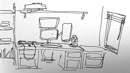 Interior, front view of desk.
