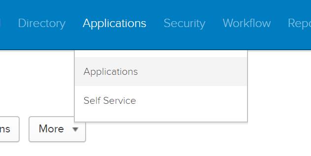 Okta dashboard applications