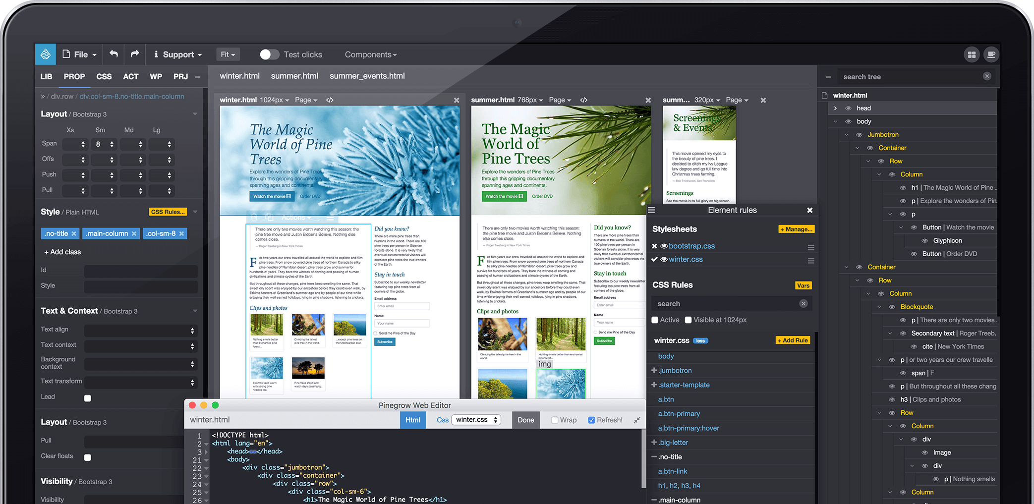 Pinegrow Web Editor Website Builder For Professionals