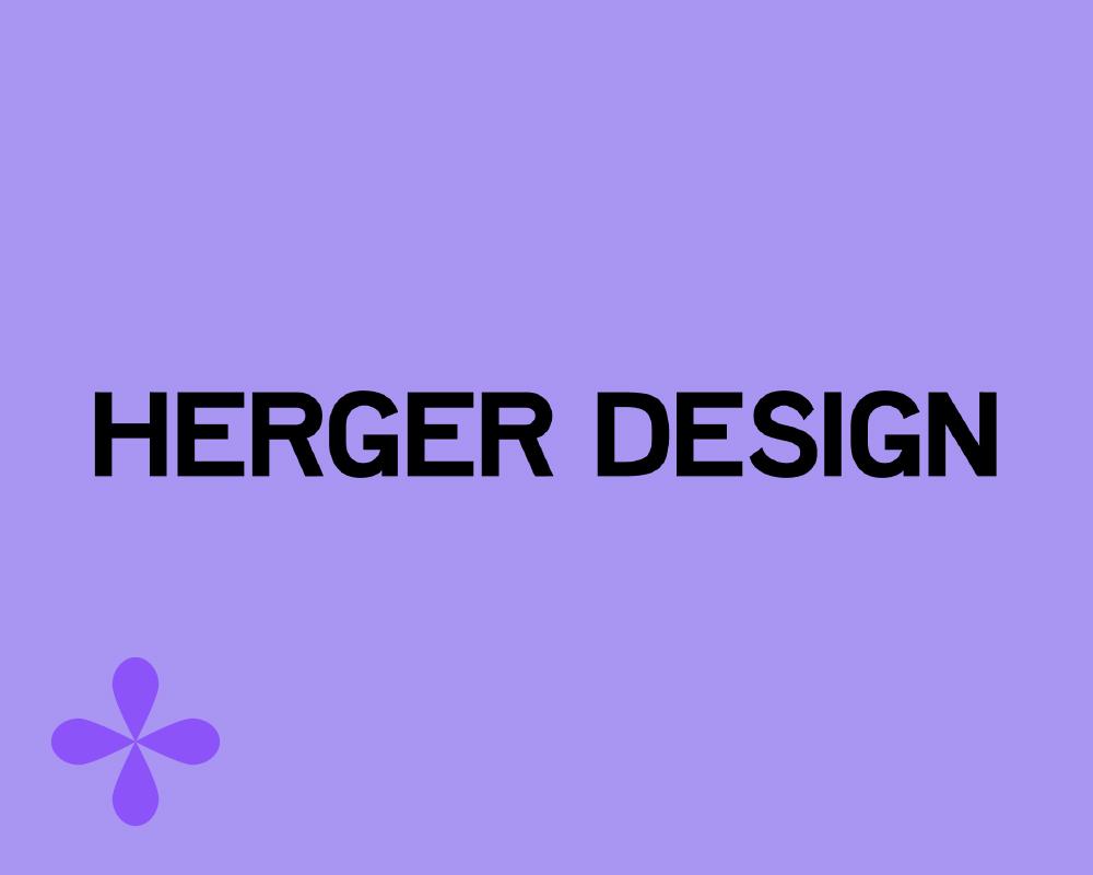 HergerDesign logo on a purple background with a darker purple flower glyph in the corner.