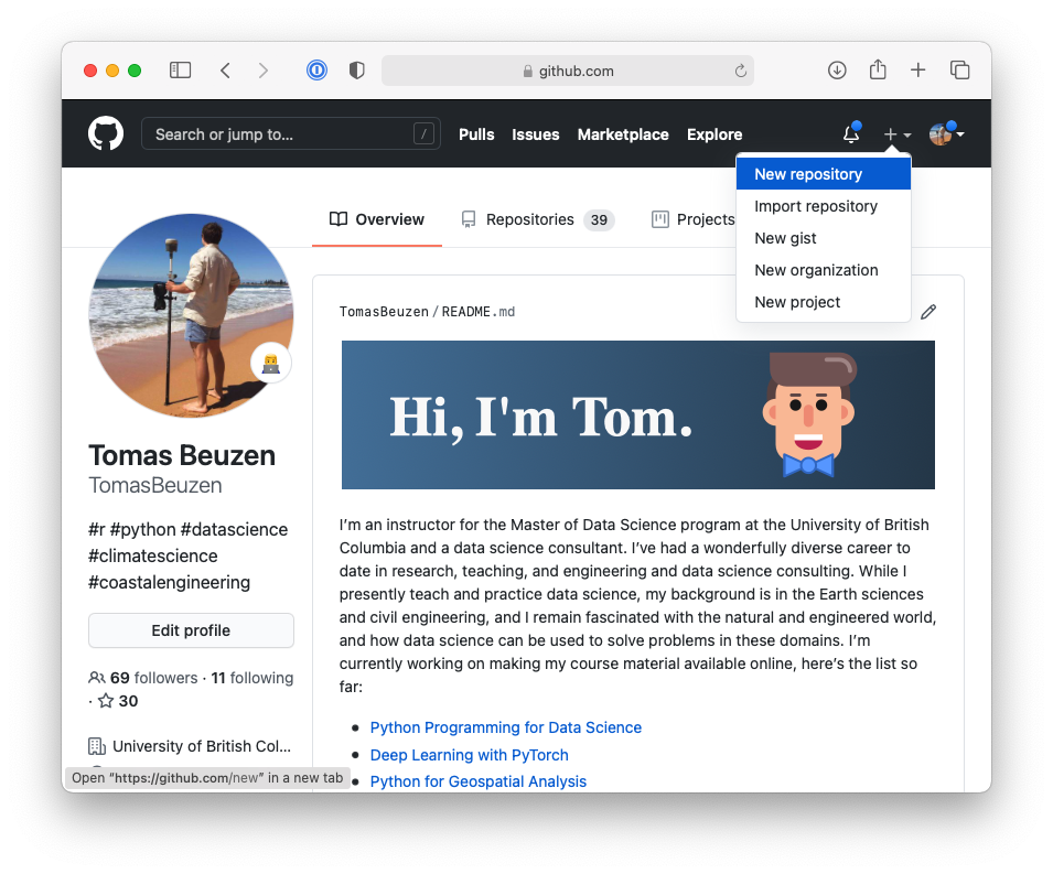 Creating a new repository in GitHub.