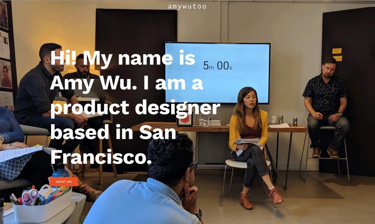 The homepage of Amy Wu's UX design portfolio