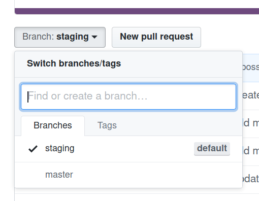 GitHub branch select button dropdown