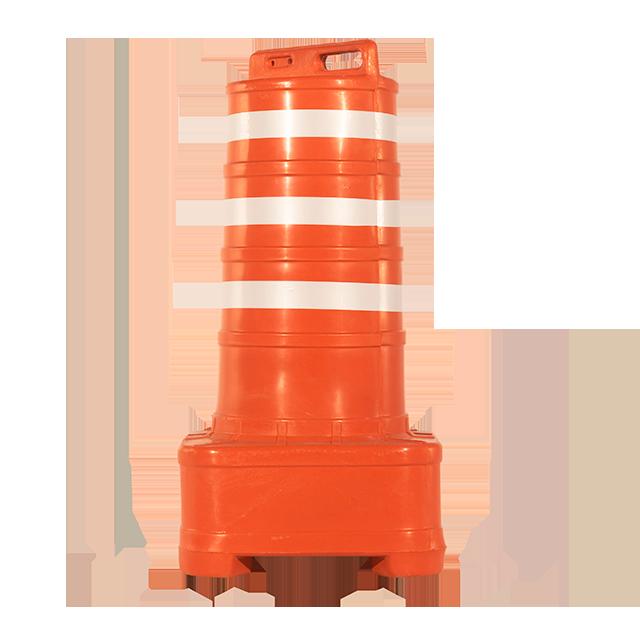 Cone barril fabricado em PEAD padrão CET com 3 faixas refletivas.
