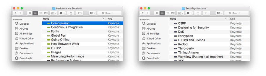 For each workshop I do, I keep a folder of individual Keynote files for various sections so that I can easily adjust based on questions from attendees.