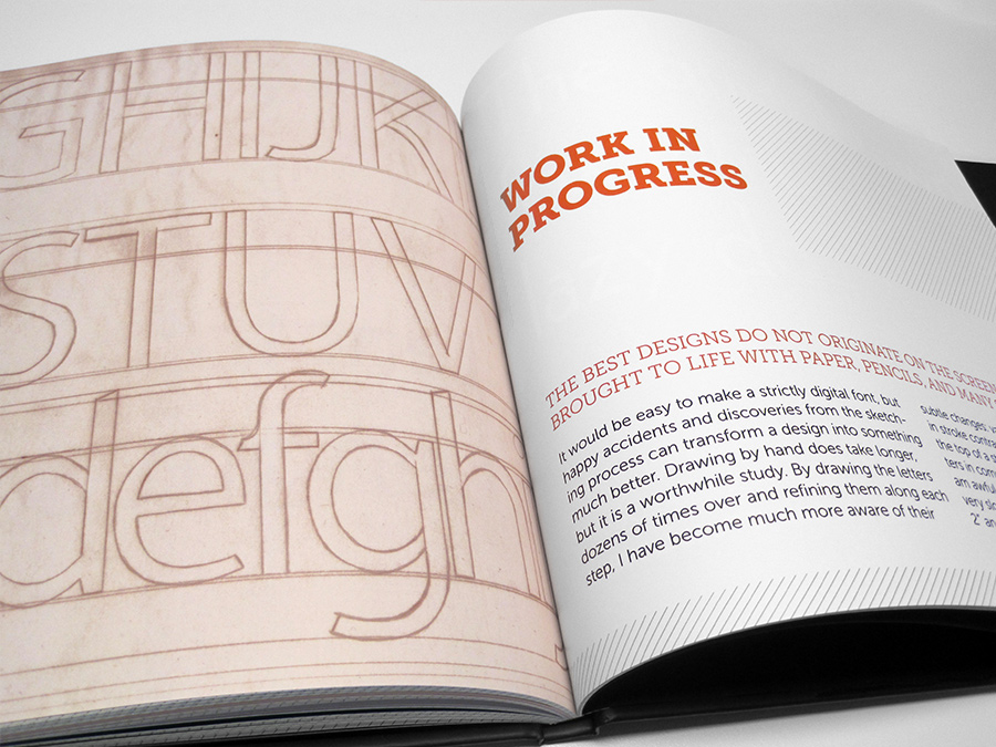 Inner spread of chapter 6, showing off sketches for a new typeface