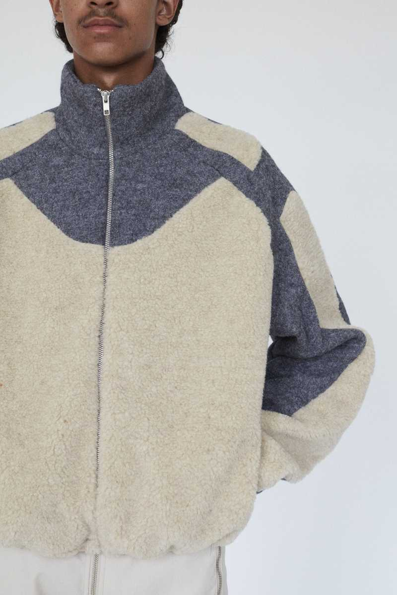 GMBH AW19 ERCAN FLEECE JACKET BEIGE GREY ZOOM