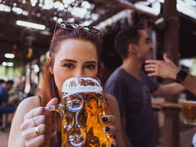 A large mug filled with beer for Oktoberfest