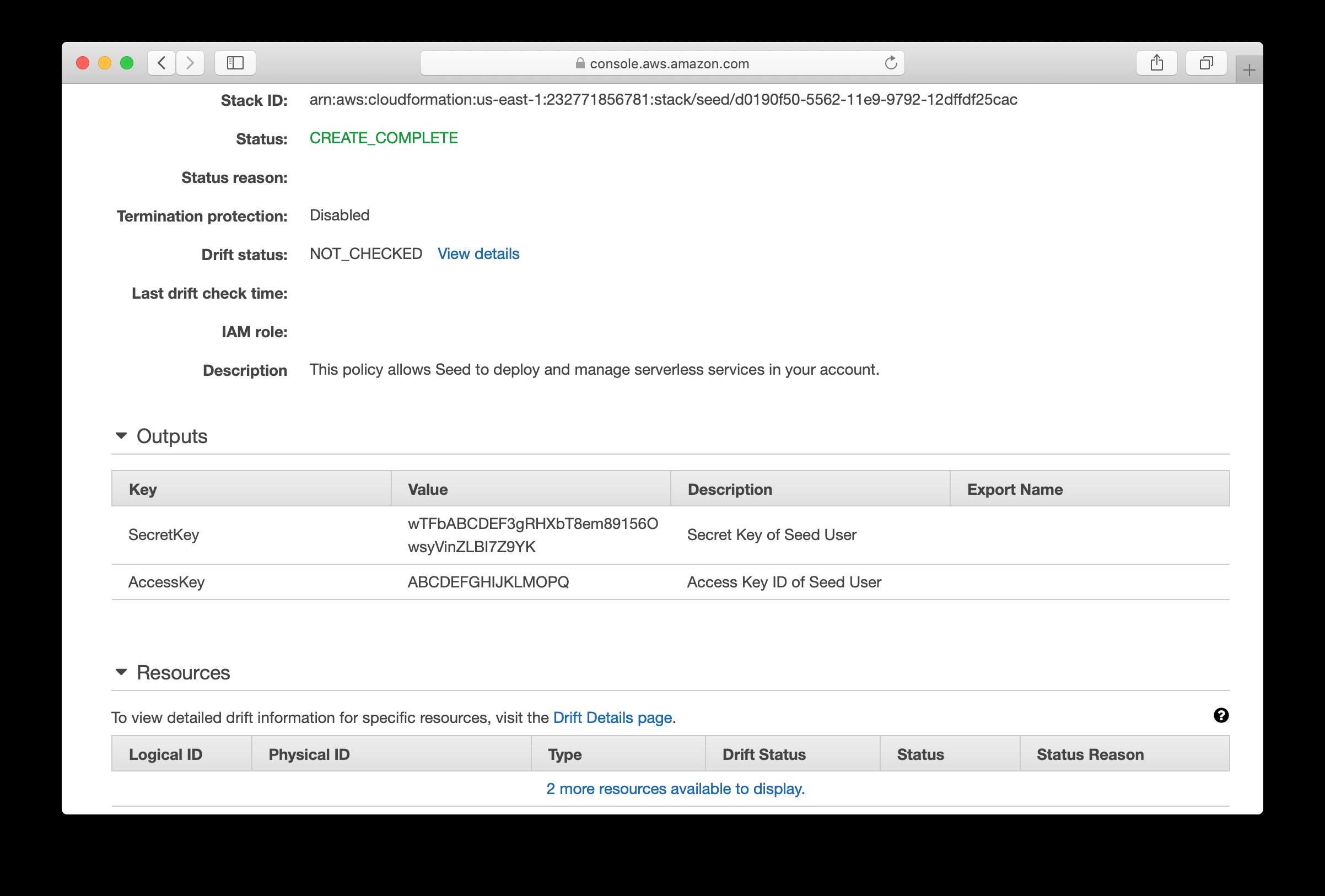 CloudFormation complete output screenshot