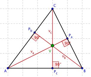 Trojúhelník s vyznačeným ortocentrem V