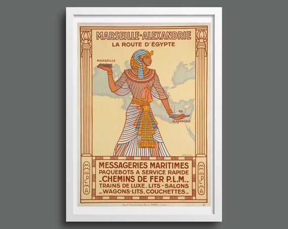 Marseille to Alexandria vintage travel poster