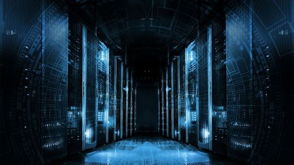 Two rows of file server racks