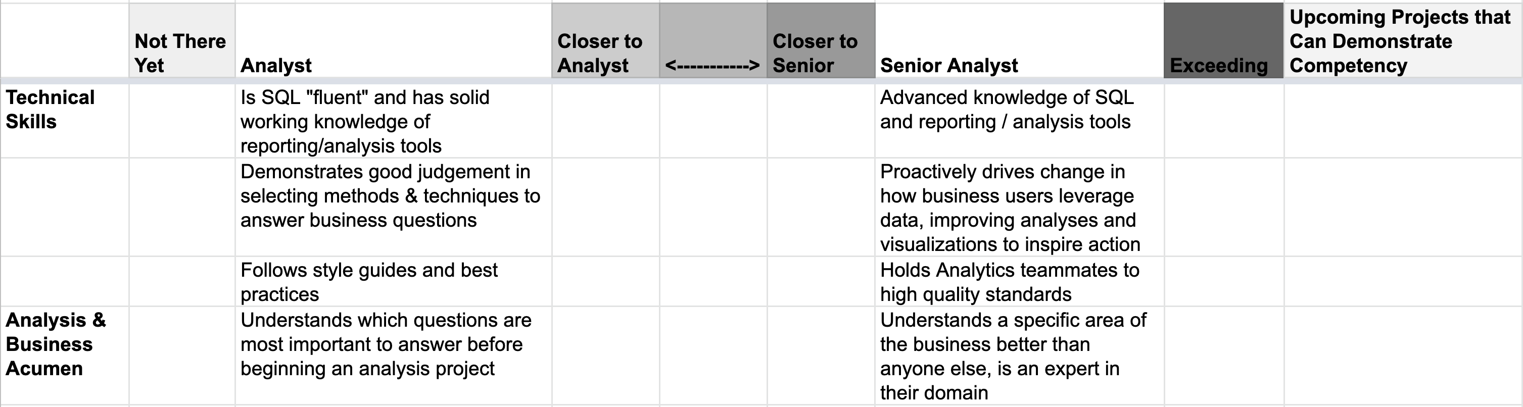 """Spreadsheet with technical and business skills for various levels, and a rubric from """"not there yet"""" to """"exceeding expectations"""" for each skill."""
