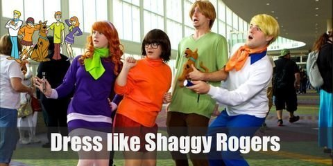 Shaggy's style is very laid-back yet retro, and he wears a very loose light green shirt, a pair of maroon bell bottom pants, and black loafers.