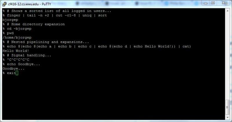 Unix Mini Shell