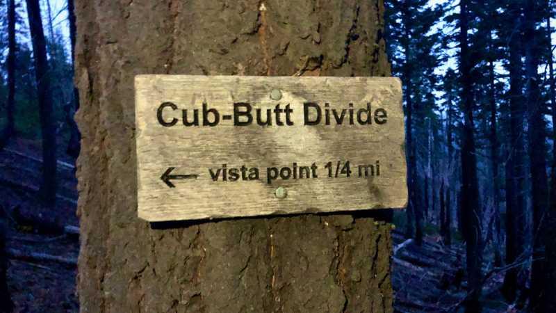 A sign identifies Cub-Butt Divide
