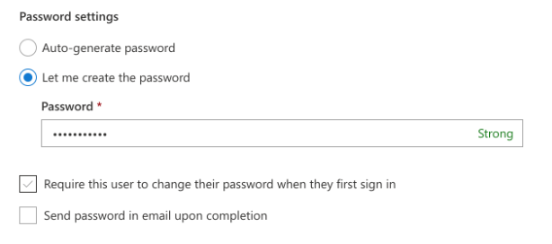 Office 365 Admin Center Let me create the password