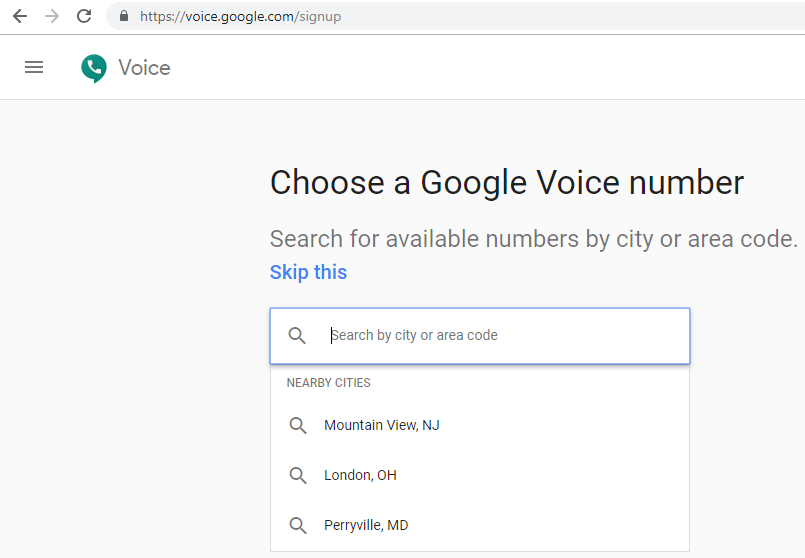 Google Voice choose number