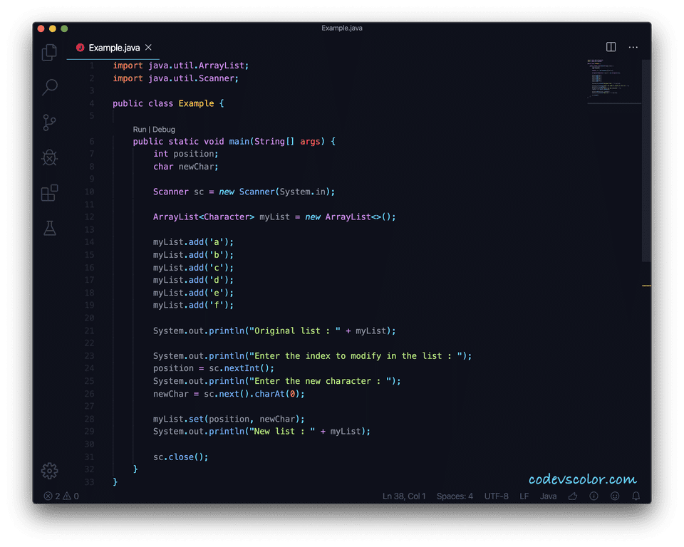 Java arraylist set