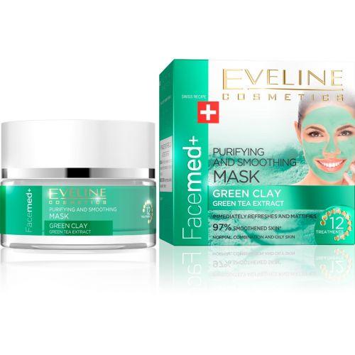 EVELINE Facemed+ tisztító és bőrkisimító arcmaszk zöld agyaggal és zöld tea kivonattal 50 ml