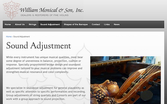 Screenshot of the William Monical website, williammonical.com