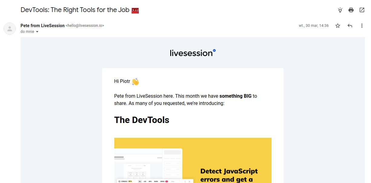 LiveSession Email - summary