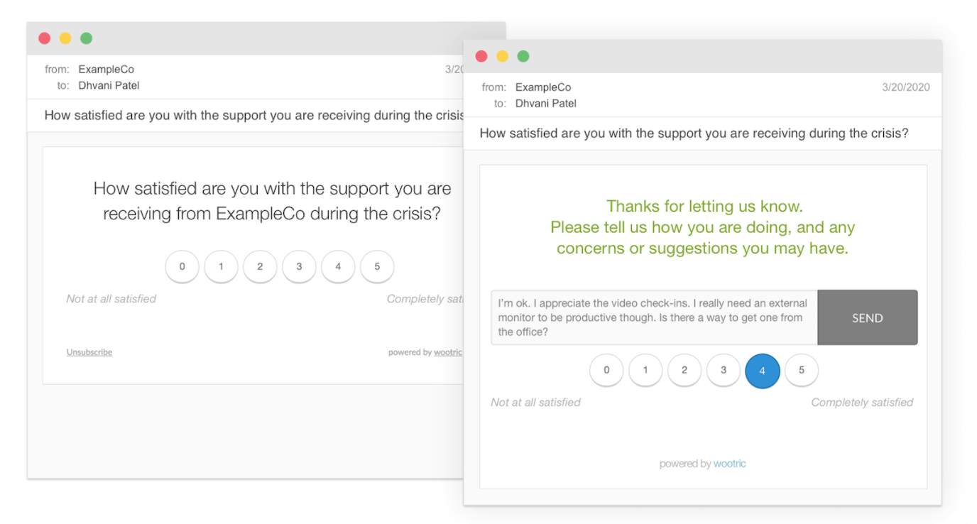 Wootric employee feedback form