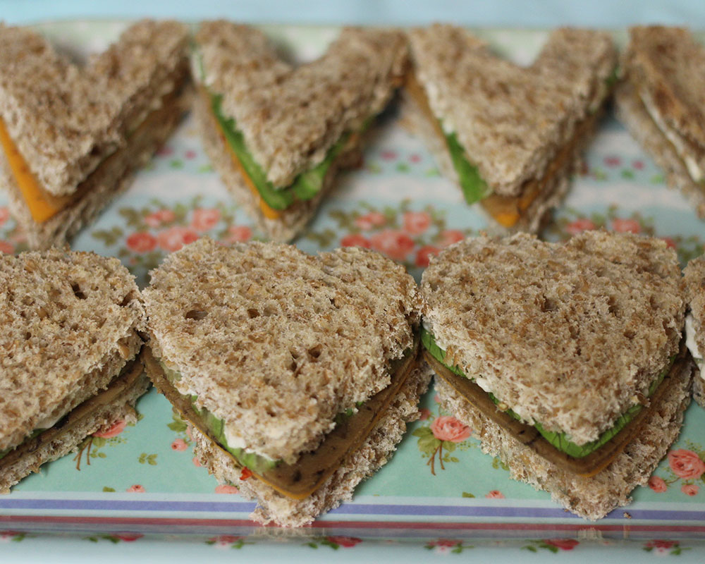 field roast and chao cheese vegan tea sandwiches