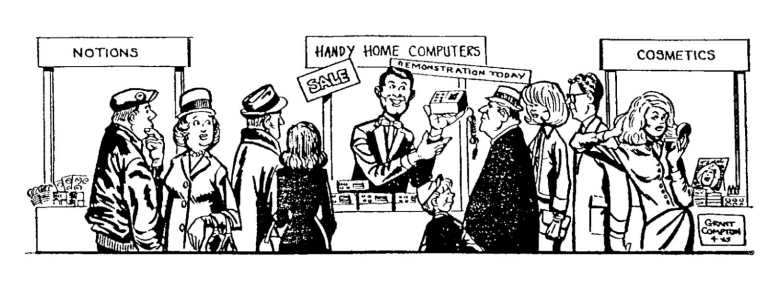 "Gordon Moore's cartoon ""predicting"" the implications of radically improving transistor density."