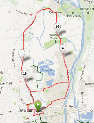Maidenhead half-marathon 2012 route