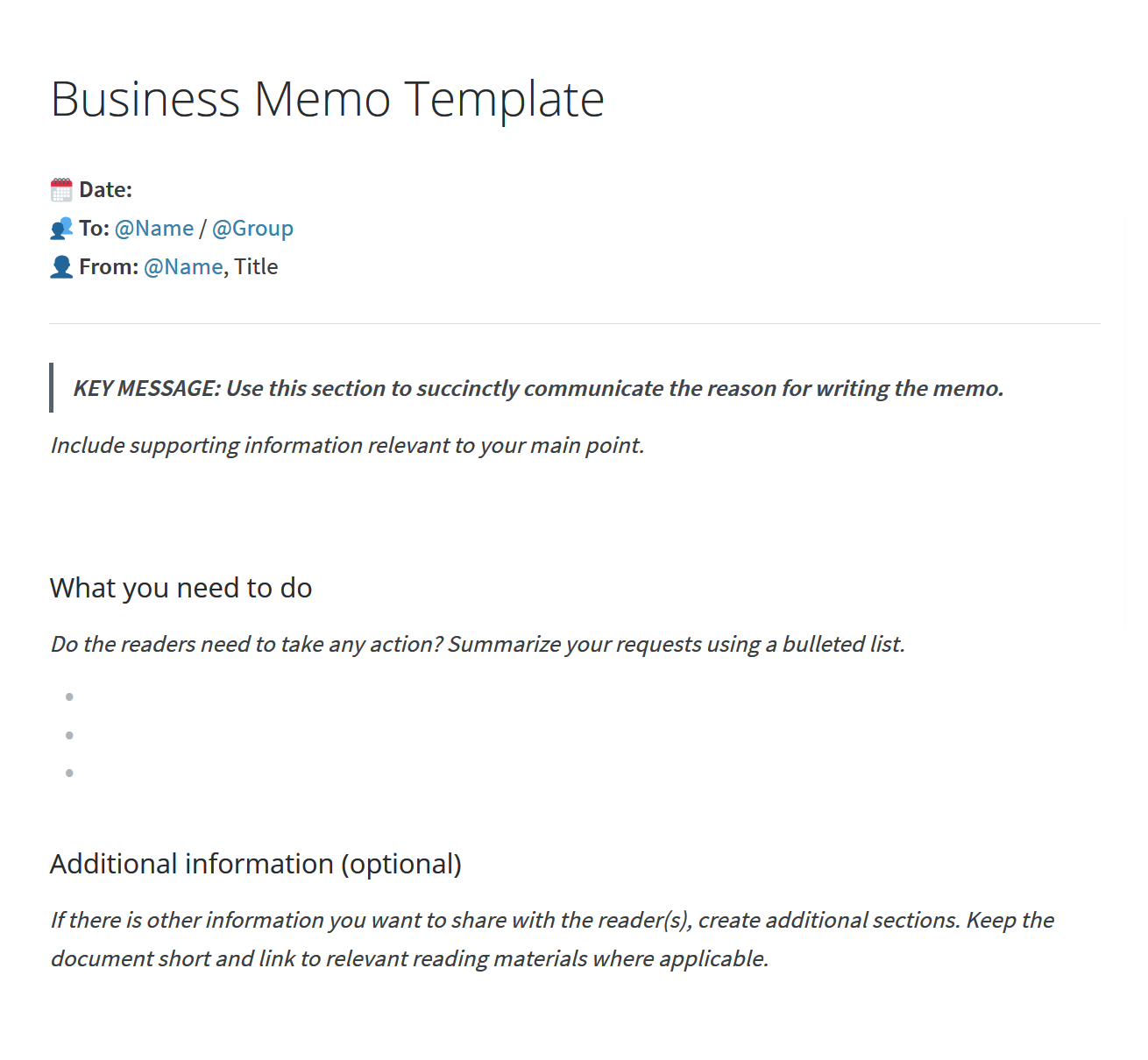 Business memo example
