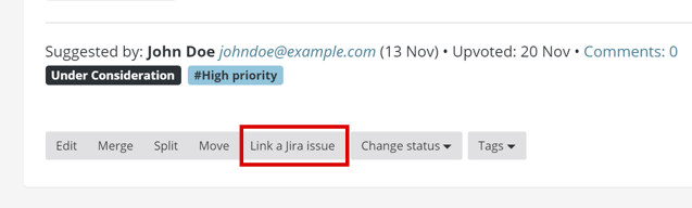 Screenshot of Feature Upvote's 'Link a Jira issue'