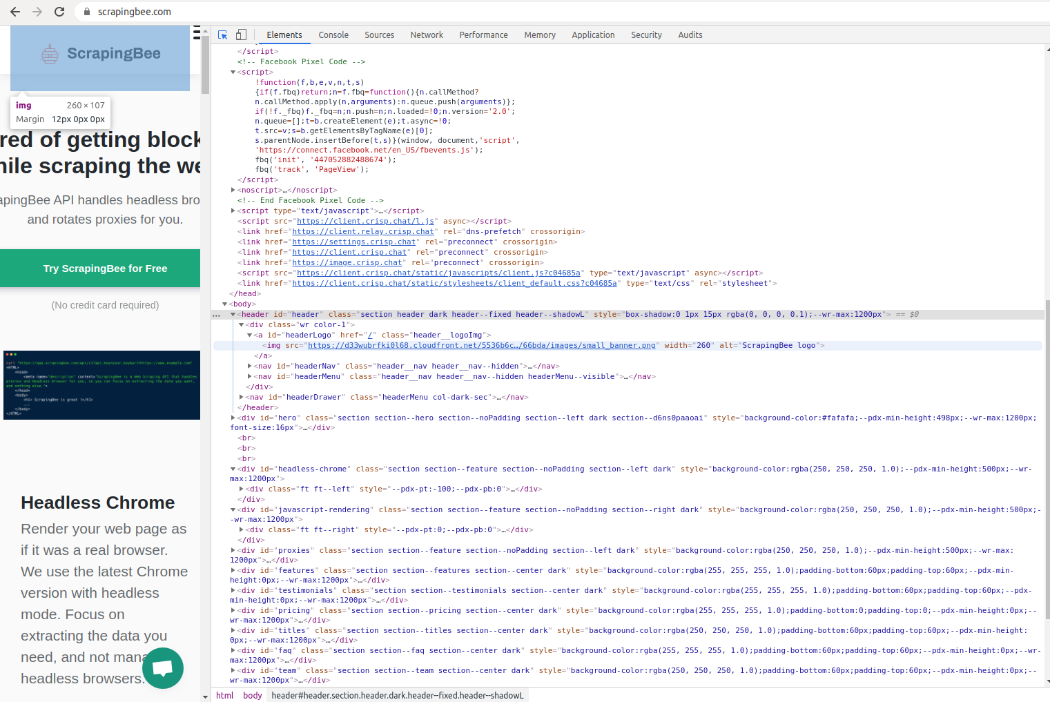 HTML inside Chrome dev tools