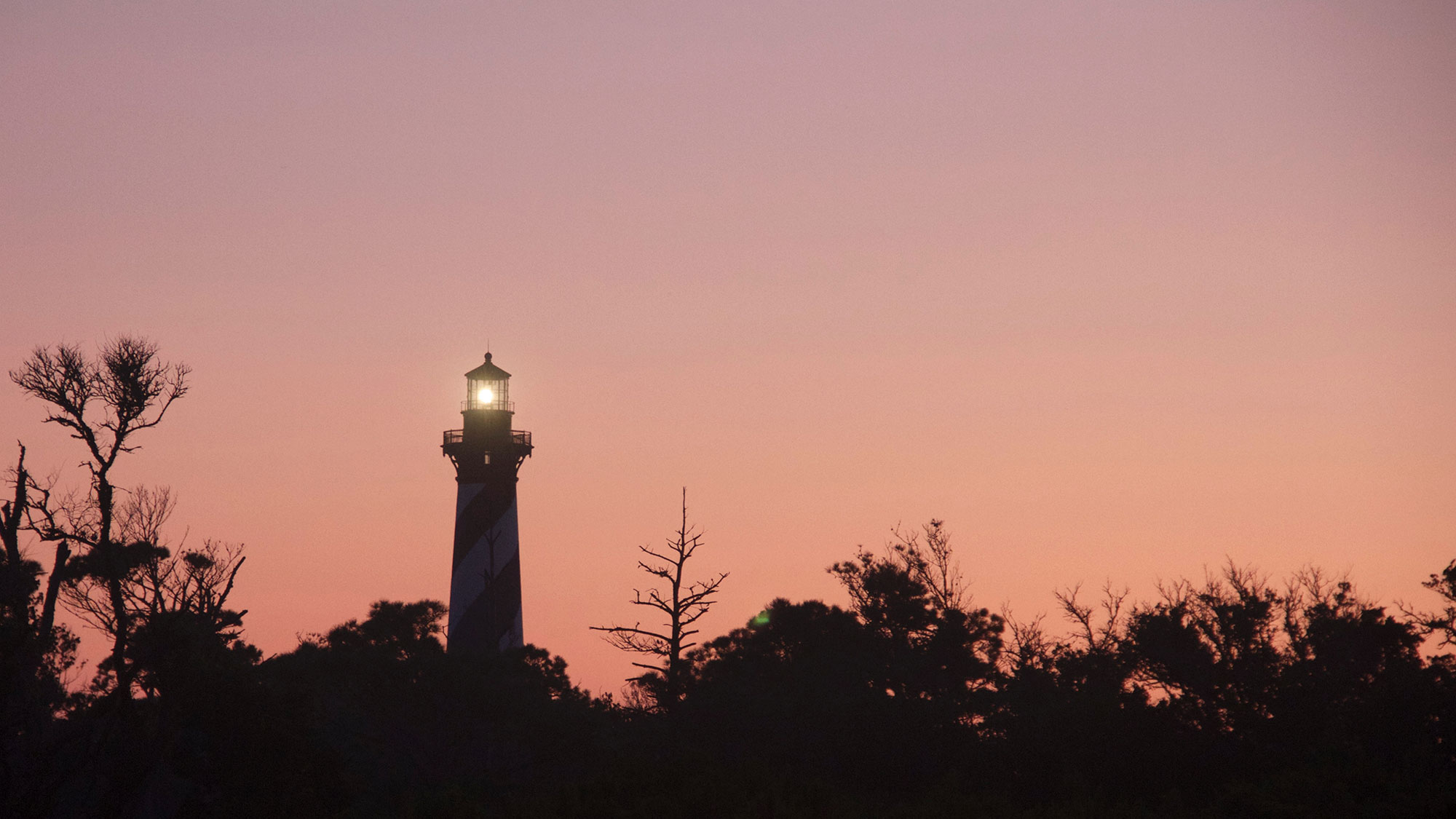 The Cape Hatteras Lighthouse at dawn.