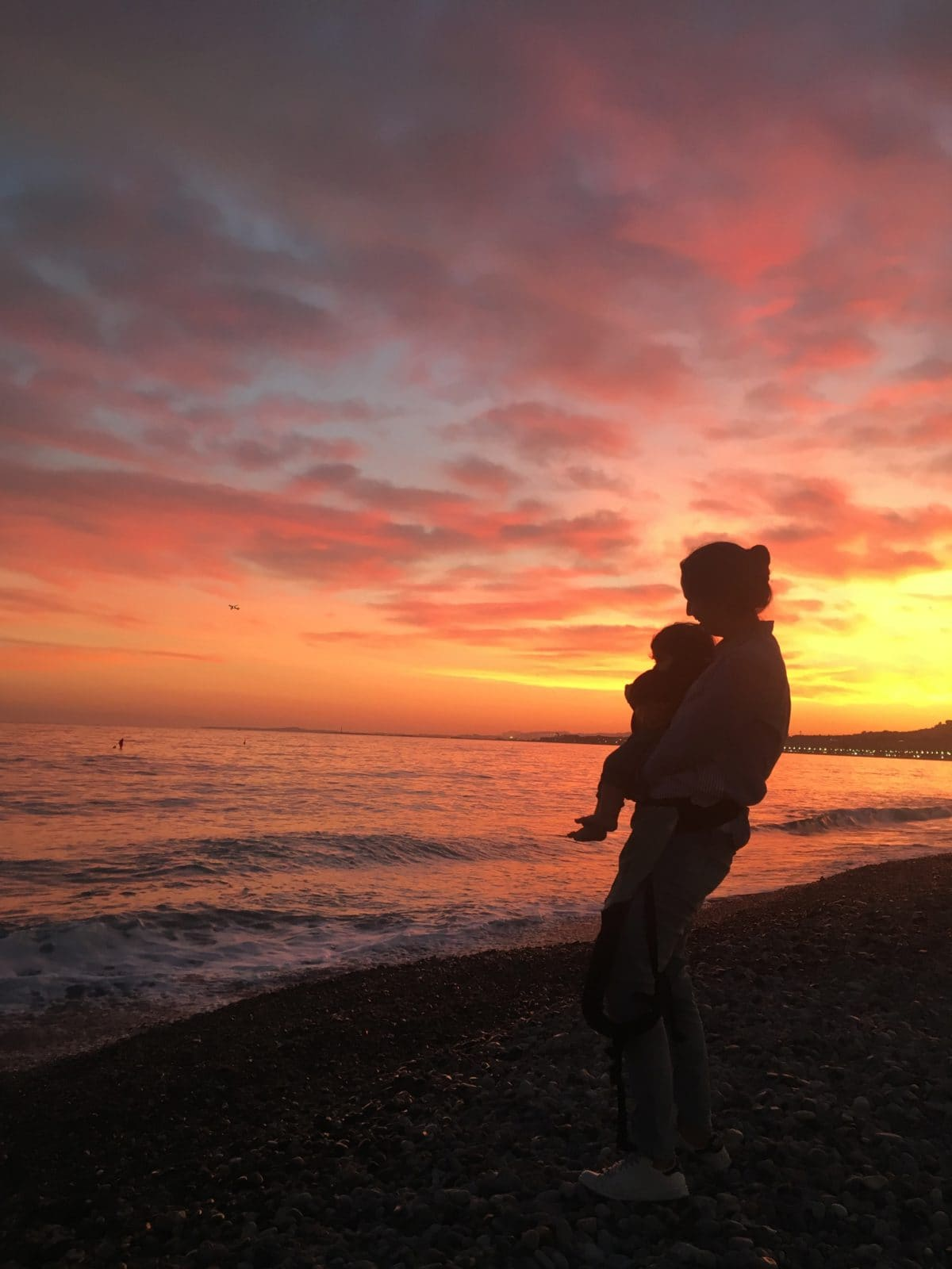 Sunset on the beach in Nice