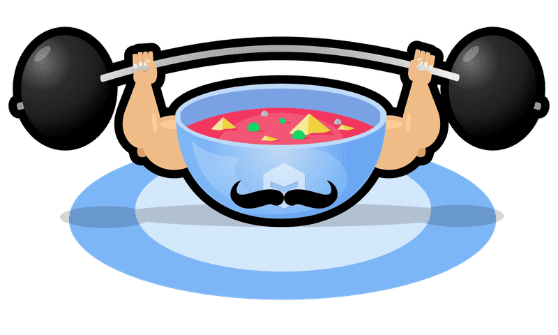 A bowl of soup with a victorian moustache and muscly arms lifting a heavy weight.