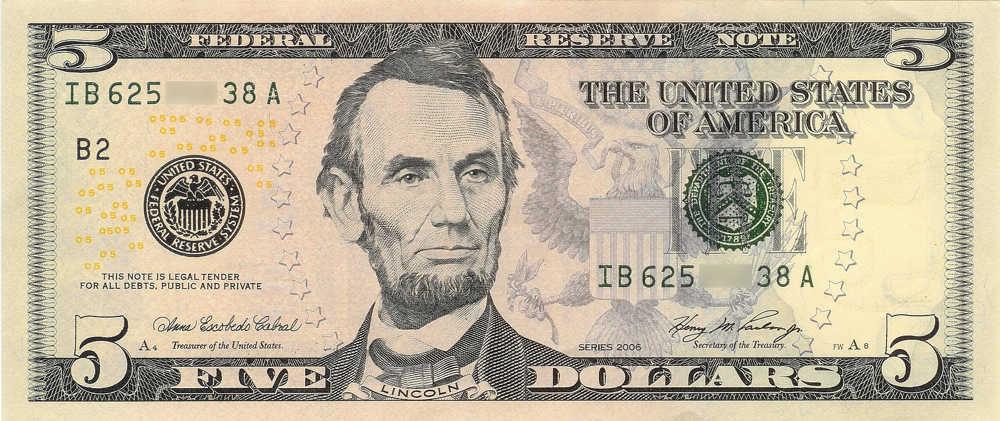 A five dollar bill